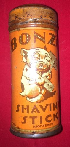 Vintage Bonzo shaving stick tin and original (unused soap). Rusty tin (see photos) from Vintage Tins, Vintage Labels, Vintage Antiques, Shaving Stick, Coffee Tin, Tin Containers, Vintage Packaging, Tin Boxes, Metal Tins