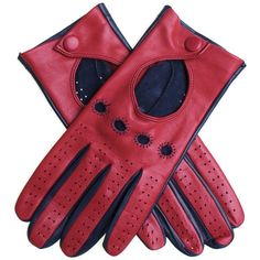Red and Navy Italian Leather Driving Gloves (€82) ❤ liked on Polyvore featuring accessories, gloves, red leather gloves, navy blue gloves, knuckle gloves, leather palm gloves and leather knuckle gloves