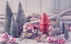 Indir duvar kağıdı Noel dekorasyon, 2018, Yeni Yıl, yapay Noel ağaçları, kar, ren geyiği