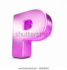 3d pink purple metal letter P isolated white background