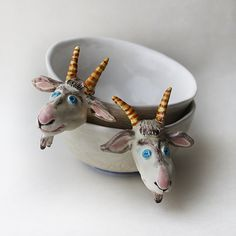 Love these cute fellows. Also available: Donkeys and Elephants. White Goats Ceramic Bowls Set Hand painted by Natvasclayandpaper