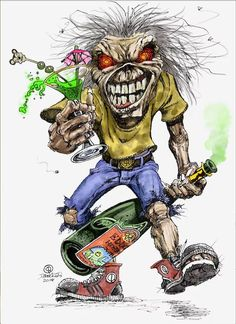 I partied with this Eddie last night. Bugs Bunny Drawing, Iron Maiden Mascot, Iron Maiden Albums, Iron Maiden Posters, Eddie The Head, Where Eagles Dare, Heavy Metal Art, Werewolf Art, Music Wall Art