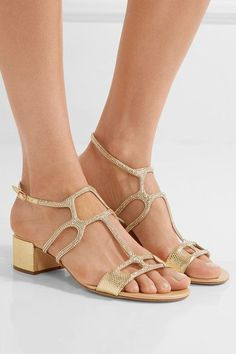 Heel measures approximately inches Gold satin and leather Buckle-fastening ankle strap Made in Italy Shoes Flats Sandals, Flat Sandals, Gladiator Sandals, Leather Sandals, Heeled Sandals, Rene Caovilla, Stylish Sandals, Satin, Mens Fashion Shoes