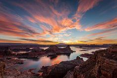 Amazing sunrise over Alstrom Point, Lake Powell, Utah via Flickr.