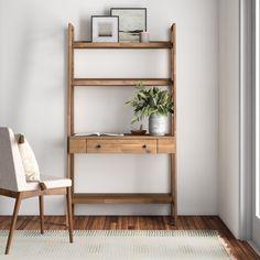 Extra Storage Space, Storage Spaces, Ladder Desk, Wall Mounted Desk, Solid Wood Desk, Low Shelves, Shelf, Minimalist Room, Brown Walls