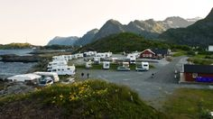 Moskenes Camping - Vindu mot lofotveggen ... Lofoten, Camping, Alternative, Rv, Campsite, Campers, Tent Camping, Rv Camping