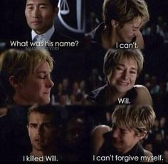 the thing is, tris is divergent and can reject the truth serum, like she did with the death serum in allegiant. she didn't have to say she killed Will, but she did. Divergent Memes, Divergent Hunger Games, Divergent Fandom, Divergent Insurgent Allegiant, Divergent Trilogy, Divergent Movie Scenes, Insurgent Quotes, Theo James, Veronica Roth