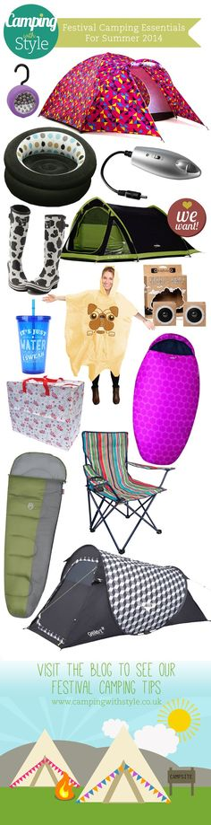 Music Festival Summer Camping Tips & Essential Camping Products 2014  See the updated Festival Guide for 2015 here: http://campingwithstyle.co.uk/must-have-summer-festival-camping-gear-2015/     #festival #camping #tips