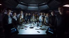 """'Alien: Covenant' movie cast assemble for new crew photo. The cast of director Ridley Scott's upcoming """"Prometheus"""" sequel """"Alien: Covenant"""" including Michael Fassbender, Katherine Waterston and James Franco have joined together for a group photo. James Franco, Alien Convenant, Saga Alien, Covenant Movie, The Covenant, Michael Fassbender, New Movies, Movie Trailers, Sci Fi Movies"""