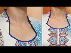 Easy To Make Halter Collar Neck (Haandi shape) Cutting and Stitching Steps – dressideas Churidhar Neck Designs, Neck Designs For Suits, Neckline Designs, Collar Designs, Blouse Neck Designs, Dress Designs, Salwar Neck Patterns, Salwar Neck Designs, Churidar Designs