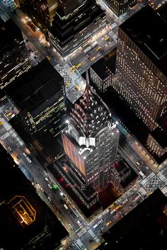 NYC. Chrysler Building from overhead at night