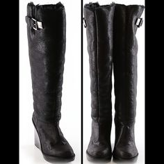 "💋Real Comfy & Warm Fur Michael Kors Wedge Boots💋 💋Real Comfy & Warm Fur Black Michael Kors Wedge Boots💋 Completely Fully Lined with fur and Silver Hardware. Wedge Height-4 1/2"" with a 1"" Platform.  Boot Height-16 1/2"" ( from top of wedge) EXCELLENT CONDITION. Michael Kors Shoes Winter & Rain Boots"