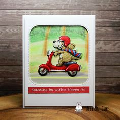 """Speeding By Card by Allison Cope featuring the digital stamp """"Dog on Scooter Vrooming By"""" by Gerda Steiner Designs Dog Car, Fox Design, Happy Thursday, Copic Markers, Digital Stamps, Some Fun, Digital Image, Cricut Ideas, I Card"""