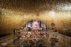 Steal the best cocktail decoration ideas from The Hazoorilal wedding.We have brought every detail of their wedding decor here.From the theme of function to furniture used you'll find everything here. Gold Wedding Decorations, Wedding Themes, Wedding Designs, Wedding Venues, Wedding Ideas, Floral Decorations, Wedding Centerpieces, Wedding Dresses, Rose Garland
