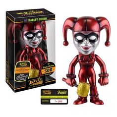 Here's Harleen Quinzel, otherwise known as Harley Quinn, as a Hikari Sofubi Vinyl Figure! The Batman Harley Quinn Crimson Metallic Hikari Vinyl Figure stands at 7-inches tall in vinyl, and features he