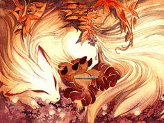 Fox Kitsune Ninetails and Vulpix Pokemon 18x24