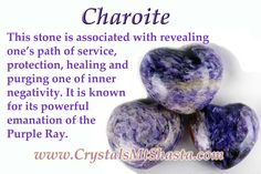 Crystal of the Day - Charoite! Service, healing, protection. More on our blog: http://www.crystalsmtshasta.com/blog/crystal-of-the-day-charoite/