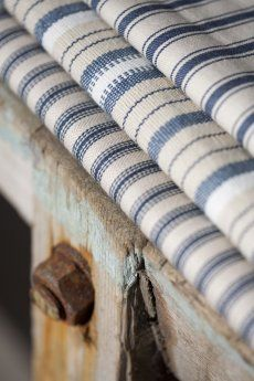 ticking stripes. french vintage. I love blue/white ticking. I repined this from http://angelandblume.wordpress.com/
