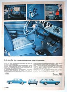 Original 60's Vintage German Ad, Ford Taunus 20 M Ford Company Classic Cars…