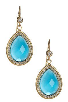 Her earrings - only emeralds   18K Gold Clad Teardrop Blue Cat's Eye Crystal & Simulated Diamond Dangle Earrings