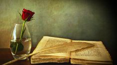 rose, quill, book (artist unknown)