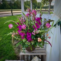 Autumn wedding centerpiece of purple gladiola, lavender snapdragons, Coolwater roses, and local wildflowers, in a gray bowl of cast concrete, $200, by Love in Flower Floral Wedding, Wedding Flowers, Gourmet Baskets, Grey Bowls, Mount Holly, Fall Wedding Centerpieces, Send Flowers, Local Florist, Autumn Wedding