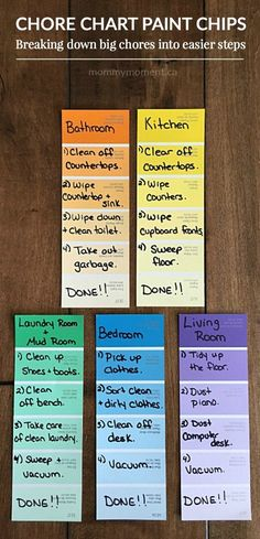Genius Drops Focus Vitamins for Kids Chore Chart Paint Chips. Kids can sometime get overwhelmed by the tast of chores such as cleaning their room. Breaking down big chores into easier steps for kids. Kids And Parenting, Parenting Hacks, Foster Parenting, Gentle Parenting, Parenting Quotes, Chore Board, Education Positive, Positive Discipline, Science Education