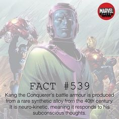 Always good to learn more interesting stuff Kang the conqueror's battle Armour is produced from a rare synthetic alloy from the century It is neuro-kinetic meaning it responds to his subconscious thoughts. Marvel Comic Universe, Marvel Vs, Marvel Heroes, Superhero Facts, Superhero Villains, Sci Fi Comics, Marvel Dc Comics, Kang The Conqueror, Marvel Facts