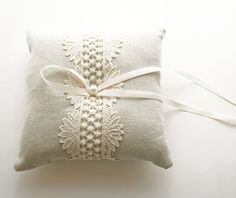 RIng Bearer Pillow Natural Linen Lace Pillow by laurastark on Etsy, $90.00