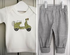 olive green scooter baby tshirt and check by byebyebirdieengland, $37.50