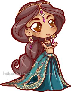 Chibi Jasmine Chibi Jasmine in her Fairy tale Doll Version 3 Kawaii Disney, Chibi Disney, Cute Disney, Disney Fan Art, Disney Princess Art, Disney Nerd, Disney E Dreamworks, Disney Movies, Disney Pixar