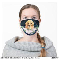 Adorable Golden Retriever dog with flower washable Adult Cloth Face Mask Dogs Golden Retriever, Retriever Dog, Mouth Mask Fashion, Sad Eyes, Night Background, Ear Loop, Snug Fit, Sensitive Skin, Street Wear