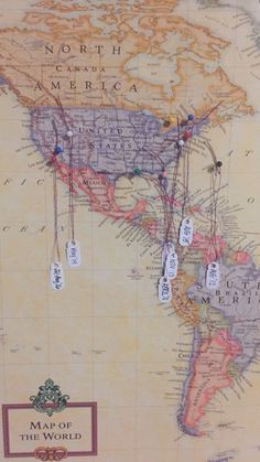 World Map stapled onto a white canvas, push pins on places I've been, and tags of the month and date hanging on them - simple and easy room decor if you're into marking down the places you've visited (All costs are less than 30$ depending on the size of your canvas and map)