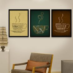 Superb Vintage Coffee Cup Canvas Wall Art Posters Giclee Prints Pictures for Bar Office Cafe Coffee Room or Kitchen Canvas Wall Decor, Wall Art Prints, Canvas Art, Canvas Paintings, Coffee Typography, Typography Art, Coffee Room, Vintage Coffee Cups, Cafe Art