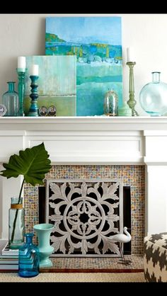 Use screen over faux fireplace.