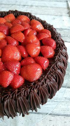 Aardbeien chocotaart