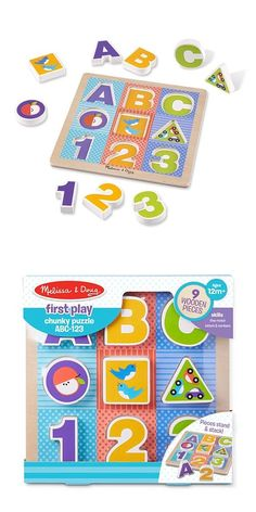 First Play Wooden ABC-123 Chunky Puzzle: Beginning puzzlers will love exploring shapes, letters, and numbers with these nine colorful wooden puzzle pieces that stand and stack! Babies and toddlers will delight in matching pieces to pictures on the sturdy wooden board, discovering colors and patterns, and stacking and counting the shaped pieces. First Play puzzles boost skills while sparking imagination and wonder - right from the start!