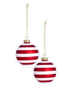 2-pack stripet julepynt | Hvit/Rød | Home | H&M NO