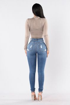 Women Stretch High Waist Skinny Distressed Jeans Ripped - Women Jeans - Ideas of Women Jeans - Women Stretch High Waist Skinny Distressed Jeans Ripped Benovafashion Sexy Jeans, Superenge Jeans, Outfit Jeans, Casual Jeans, Jeans Style, Ripped Jeans, Casual Outfits, Moto Jeans, Cargo Pants