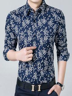 5023cfd0e53b4 Star Print, Contrast, Shirt Dress, Long Sleeve, Cotton, Sleeves, Mens Tops,  Shirts, Dresses