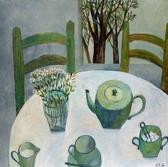 Will's Art Warehouse - contemporary fine art and gallery, modern oil paintings.  Green Tea