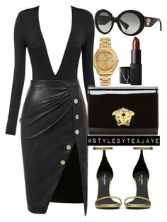 """Untitled #1881"" by stylebyteajaye ❤ liked on Polyvore featuring Versace, Yves Saint Laurent and NARS Cosmetics"