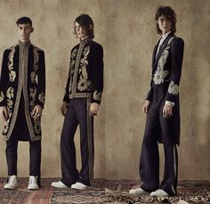 Alexander McQueen 2017 Spring Summer Mens Lookbook Presentation - London Collections: Men British Fashion UK United Kingdom - Imperial India 1960s Sixties Paisley Brocade Ornamental Outerwear Trench Coat Embroidery Slouchy Bootcut Bootleg Pants Trousers Sneakers Shirt Tuxedo Jacket Suit Vest Waistcoat Vestcoat Sleeveless Flowers Floral Cargo Pockets Stripes Safari Animal Tiger Postcard Post Mail Stamps Zebra Landscape Leopard