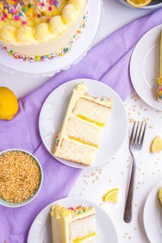 A classic moist vanilla cake slathered with a lemon buttercream icing and filled with a delicious homemade lemon curd filling. This recipe is the best lemon dessert and perfect for spring and summer or anytime! Lemon Desserts, Homemade Desserts, Lemon Recipes, Easy Desserts, Baking Recipes, Delicious Desserts, Cake Recipes, Dessert Recipes, Summer Desserts