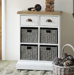 Lulworth Reclaimed Pine Hand Painted White Storage Chest With Two Drawers And Four Baskets