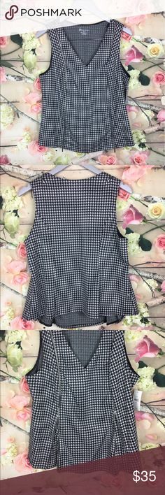 """Lane Bryant houndstooth zippered front sleeveless NEW Lane Bryant size 14/16 black houndstooth zippered front sleeveless cami tank Front zippers add style and can also be unzip for extra room On waist ❤️bust: 22"""". Lengths: 23"""" Lane Bryant Tops Tunics"""