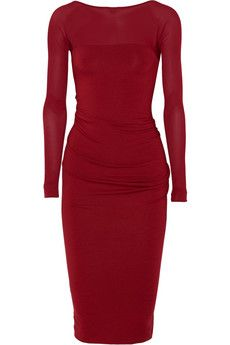 Donna Karan Ruched stretch-jersey and stretch-georgette dress | NET-A-PORTER    Luxeinspirations.blogspot.com