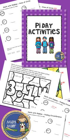 Pi Day Activities includes 3 activities: Math with Riddles - Area of a Circle, Math with Riddles - Finding Circumference, and Color with Math - Adding and Subtracting Decimals. Answer keys are included.
