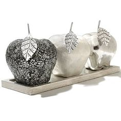 Set of Three Decorative Apples w/ Tray