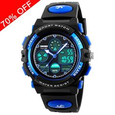 Viliysun Kids Watch 50M Waterproof Sport LED Alarm Stopwatch Digital Child Quartz Wristwatch for Boy Girl Blue * To view further for this item, visit the image link.